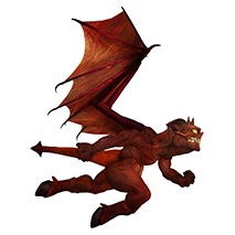 impworks Logo - a grinning imp in flight