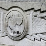 A decorative Liver Bird on the side of the Mersey Tunnel Building