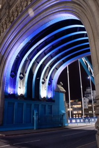 Detail of Tower Bridge Arch over Road at Night