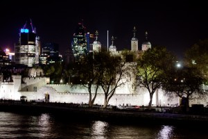 The Tower of London at Night from Tower Bridge