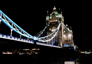 Tower Bridge from side of Thames