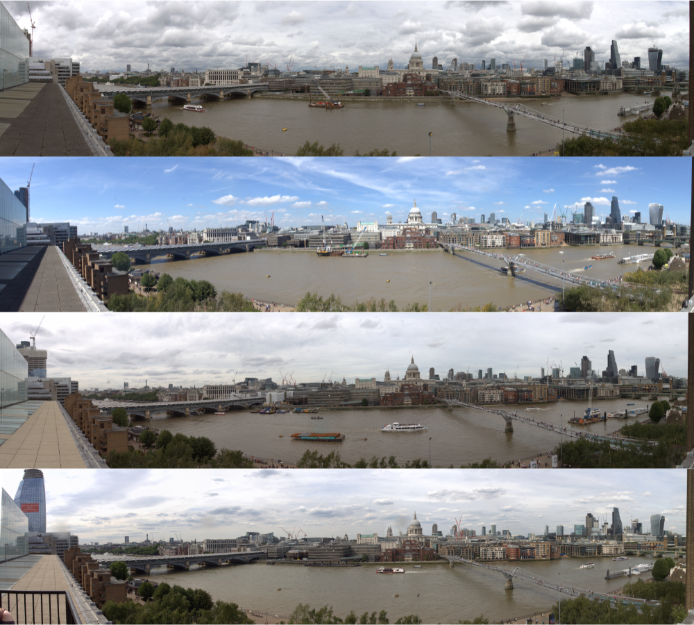 Tate Modern Member's Room Balcony Panorama across Thames 2014 to 2017
