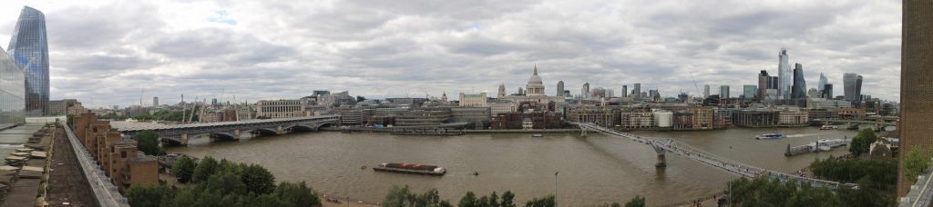 Panorama of Rive Thames from Tate Modern Members Bar Balcony July 2019